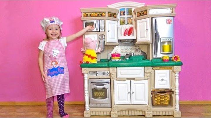 Свинка Пеппа ИГРАЕМ В ПОВАРА на новой детской кухне Peppa Pig toys Свинка Пеппа на Русском 2016