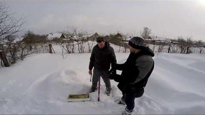 Зимовка пчел в 3-х и 6-ти рамочных ульях из ППС. Ульи под снегом. Зимовка пчел под снегом