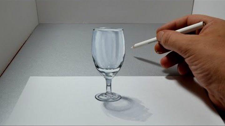 3D Trick Art Glass - Amazing Anamorphic Optical Illusion Drawing