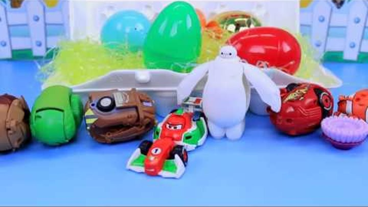 Disney Hatch Em ❤ Heroes Surprise Toys & Eggs Opening With Disney Cars Mater, Inside Out, Toy Story