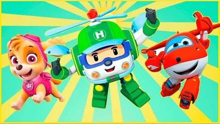 Учим цвета - Супер-крылья - Робокар Поли - Щенячий Патруль. Все серии. Открываем 24 киндера!