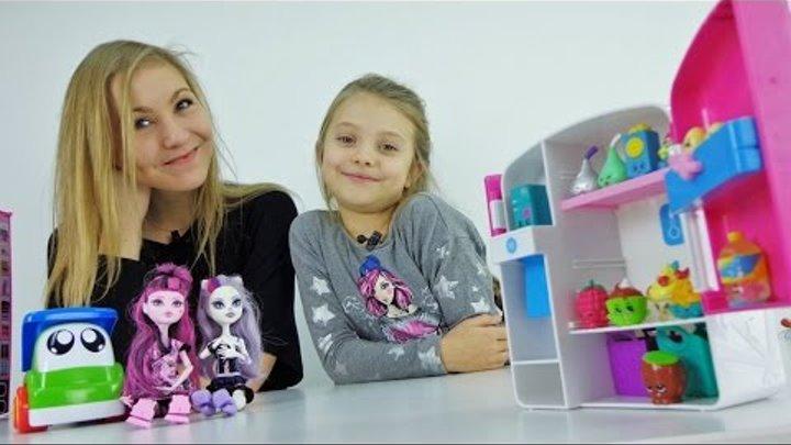 Игрушки для девочек. Куклы МОНСТР ХАЙ и ШОПКИНСЫ. Знакомимся и едем на Пикник.
