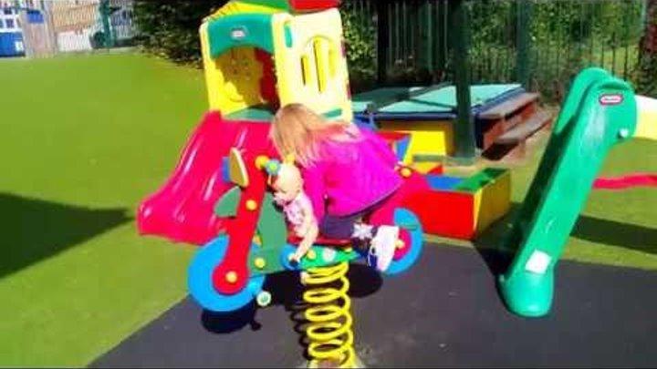 Беби Бон Катя на паровозике горки Беби Борн Мультик с игрушками для девочек