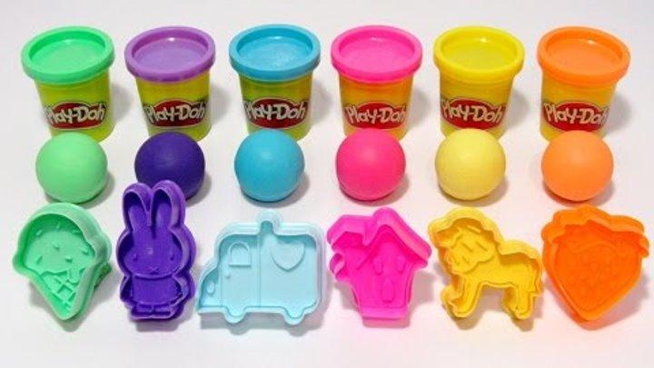 Учим цвета на английском языке с Play-Doh разноцветными шариками и формочками.