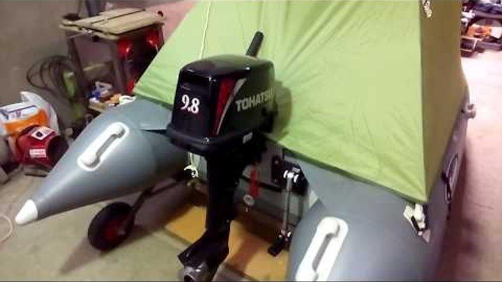 Бюджетный тент на лодку пвх Гладиатор D 330 Аl (за 1 тысячу рублей) Тюнинг лодки пвх.