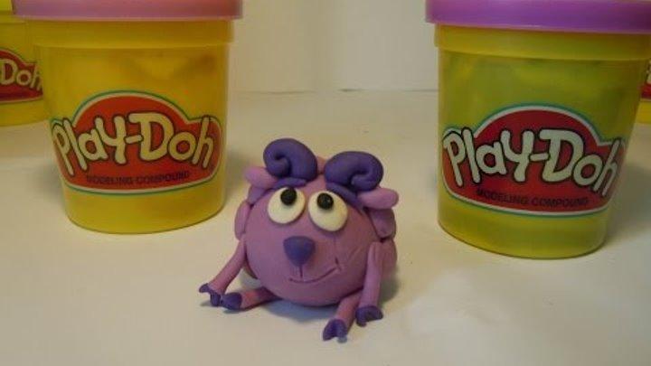 Лепим Смешарика Бараша из пластилина Плей До. Kikoriki made of clay of Play Doh (smeshariki).