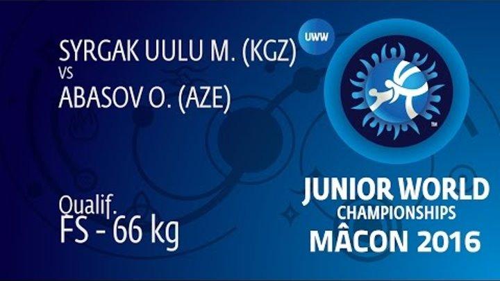 Qual. FS - 66 kg: O. ABASOV (AZE) df. M. SYRGAK UULU (KGZ) by TF, 10-0