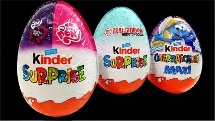 Maxi Kinder Surprise Eggs My Little Pony Transformers Smurfette Finger Family Song