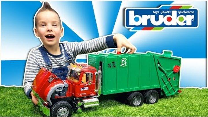 Bruder Мусоровоз. Огромный грузовик MACK. Обзор машинки Брудер. Nick Turbo BruderToys Garbage truck