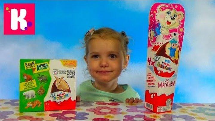 Животные Киндер Новогодняя серия сюрприз распаковка игрушек Animal Planet Kinder Surprise toys