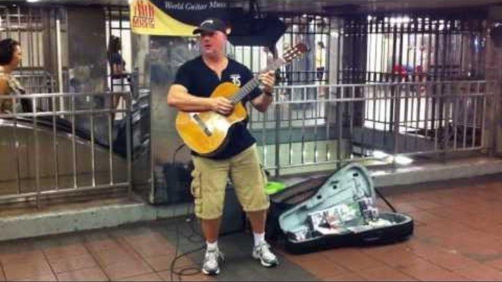Песни под гитару на станции Нью-Йоркского метро