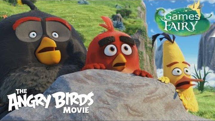 Мультик Игра Энгри Бердс. Прохождение игры Angry Birds. Ред спасает яйца. Часть 1.
