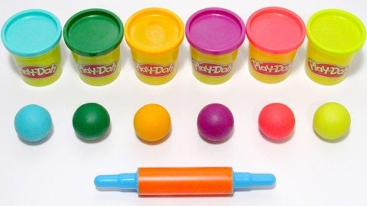 Учим цвета на английском языке с шариками из пластилина Play-Doh и формочками.