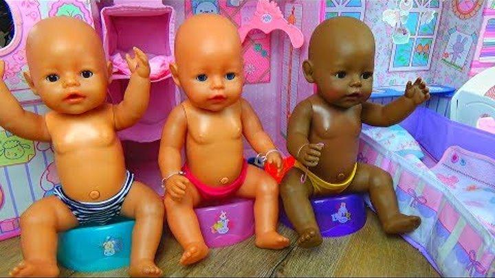 КУКЛЫ УТРО Беби Бон в КУКОЛЬНОМ ДОМИКЕ Спальня Беби Борн Девочки играют в куклы