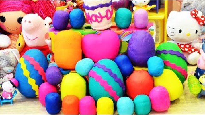 26 play doh surprise eggs peppa pig playdough my little pony surprise eggs hello kitty play doh