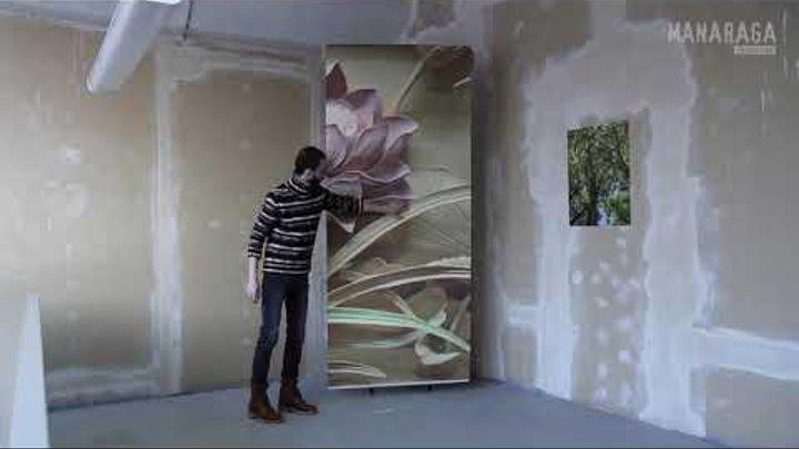 Фотообои «3Д цветок лотоса - резьба по дереву»