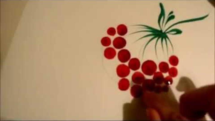 урок Петриковской росписи. рисуем калину пальцами (Petrikovka Ukraine)