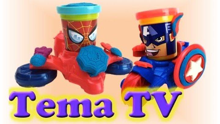 Плей до набор пластилина «Капитан Америка, Человек Паук, Веном» Play doh Can heads