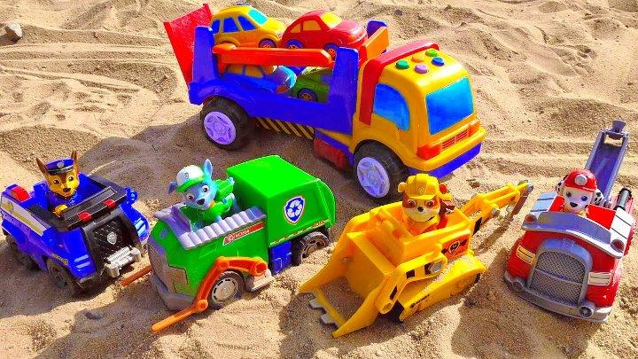 Носики Курносики • Щенячий Патруль и машинки с автовозом. Развивающие машинки для детей. PAW PATROL