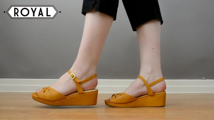 Kiki 1940s Wedge Sandals in Yellow by b.a.i.t. Footwear