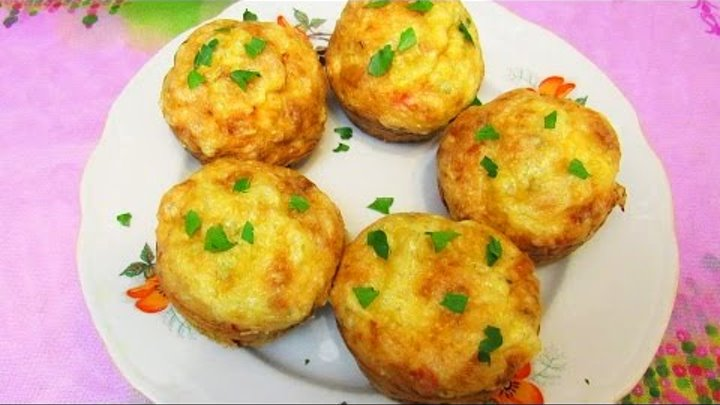 How To Make Chicken and Cheese Muffins With Red Pepper - Simple Homemade Recipe Tutorial
