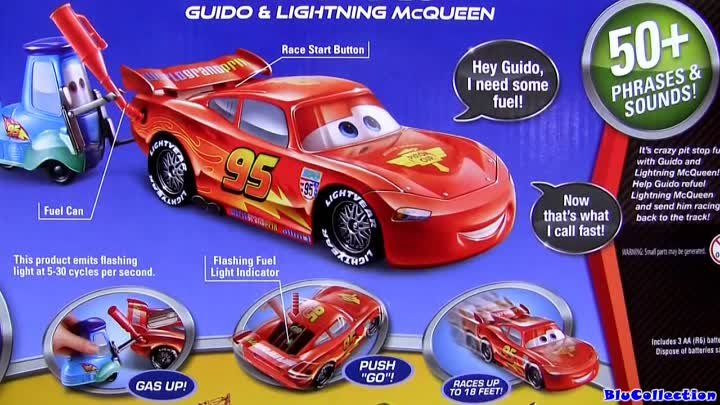 Cars 2 Gas Up and Go Lightning McQueen with Guido Pixar Disney toy review by Blucollection