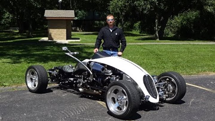 My Car Story with Lou Costabile 2009 Brimstone Quadracycle with engine startup & we take a ride