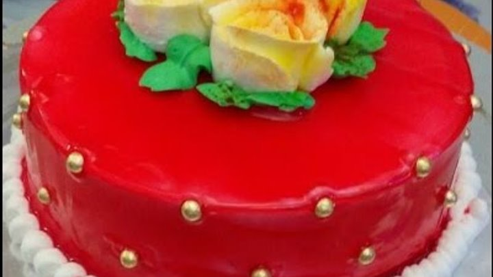 Pineapple Cake - Simple Cake Recipe, Anniversary Special Cake Using Red Gel Color