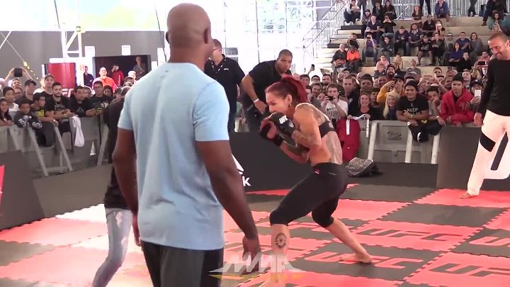 UFC 198_ Cris Cyborg Spars With Fan at Workouts
