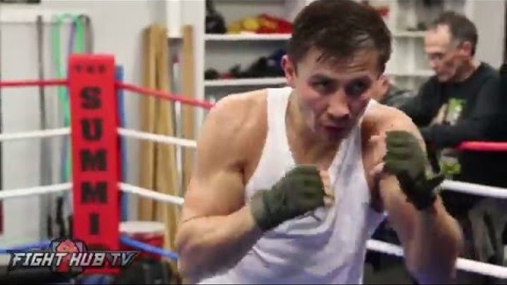 Gennady Golovkin shadow boxing one week away from Dominic Wade fight