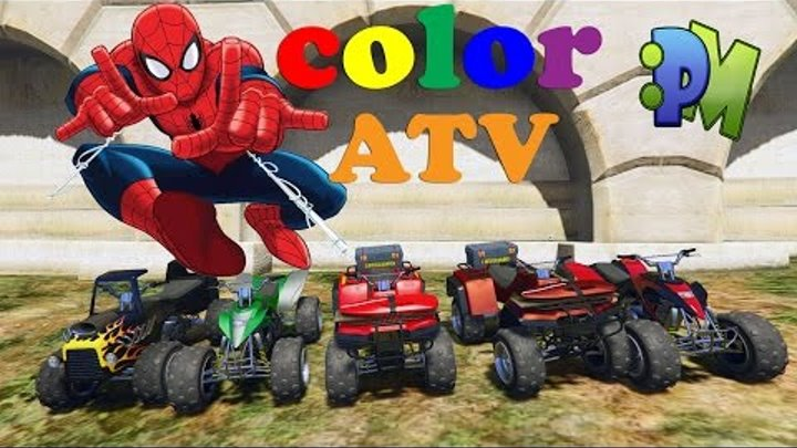 Cartoons cars and spiderman with colors ATV & planes. Nursery Rhymes, Children Songs for kids