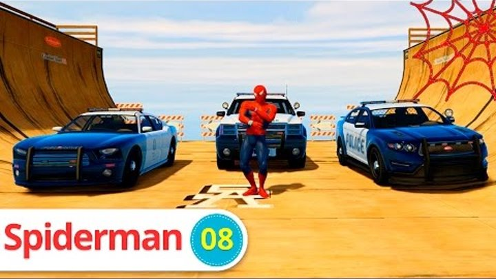 CARS CARTOON with NEW SPIDERMAN Cartoon Police Car for Kids Nursery Rhymes Songs for Children