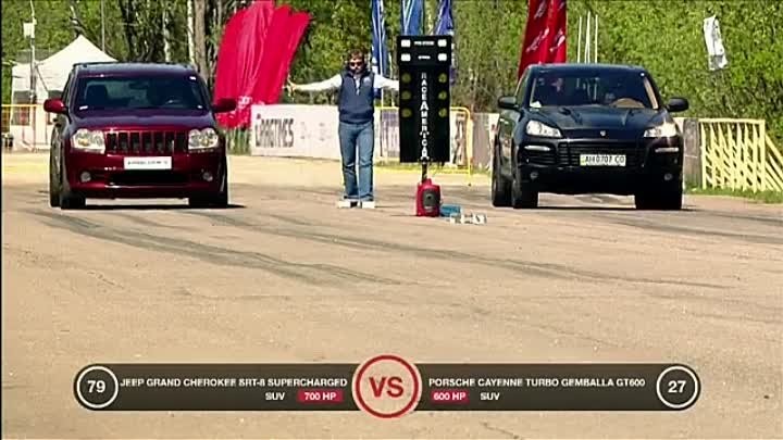 Jeep SRT-8 vs Ford Mustang vs Porsche 911 Turbo vs Porsche Cayenne vs BMW X6M - YouTube_1