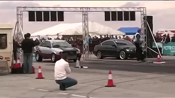 Audi 1000 hp Turbo Quattro F1 Pisti vs Bmw 335i Drag Racing Kiskunlachaza 2010