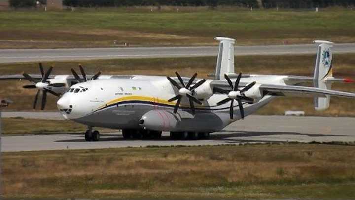 Antonov AN-22, The World's largest Propeller Aircraft Take off at Leipzig/Halle Airport 22.7.2016