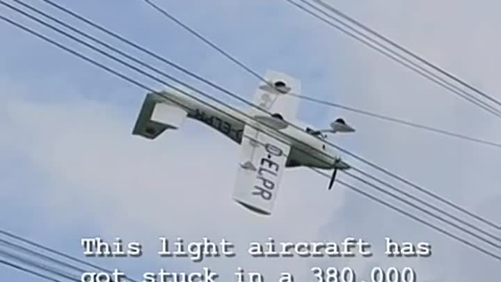 Plane Crashes Into Power Lines