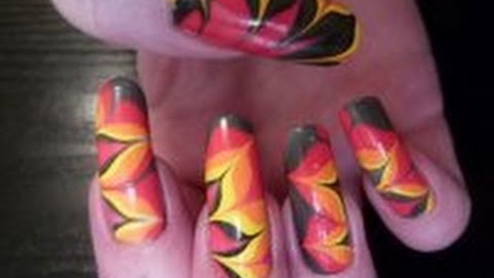 Fire & Flame Water Marble Nail Art Design Tutorial Using Collection 2000, BarryM & Ciate HD Video