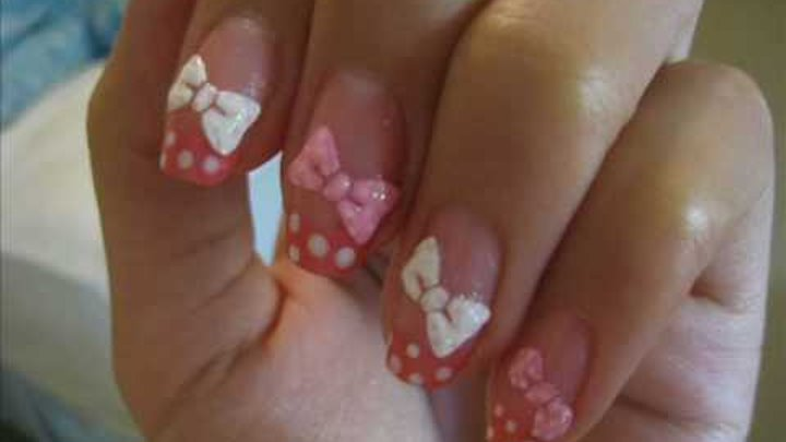 Ribbons & Polka Dot Nail Art Tutorial
