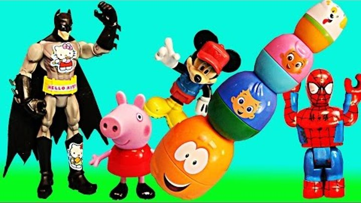 Play Doh Peppa Pig Bubble Guppies Surprise Eggs Opened by Batman and with Duplo Lego Spiderman