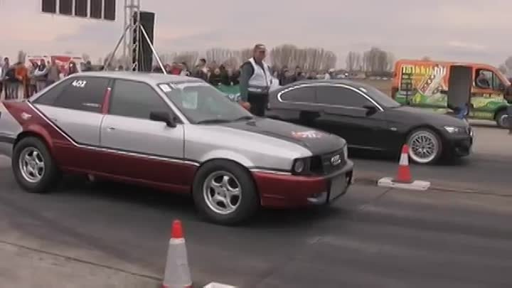 █▬█ █ ▀█▀ Audi 90 Quattro Turbo Vs. BMW E92 Drag Race