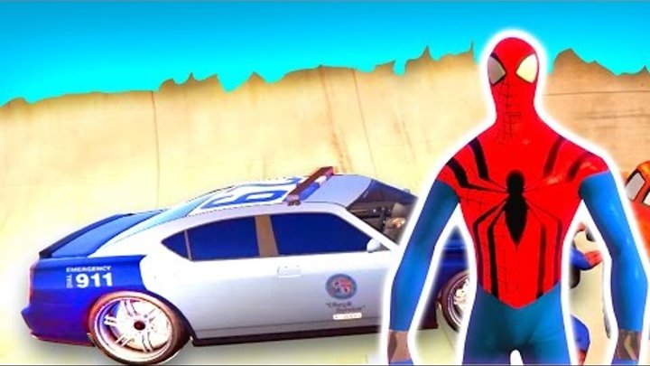 CARS with Spiderman - Police Car Cartoon for Kids Nursery Rhymes Songs for Children 2