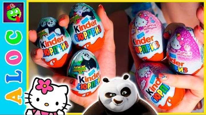 6 Kinder Surprise Eggs Kung Fu Panda 3 and Hello Kitty Songs For kids with Funny Chicken
