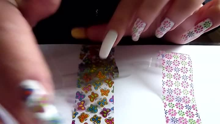 Cute Butterfly & Flower Nail Foil Art Design Tutorial How To Step-By-Step HD Video