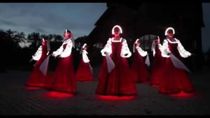 """Russian folk dance in Siberia. Artists of LED show """"CARE"""""""