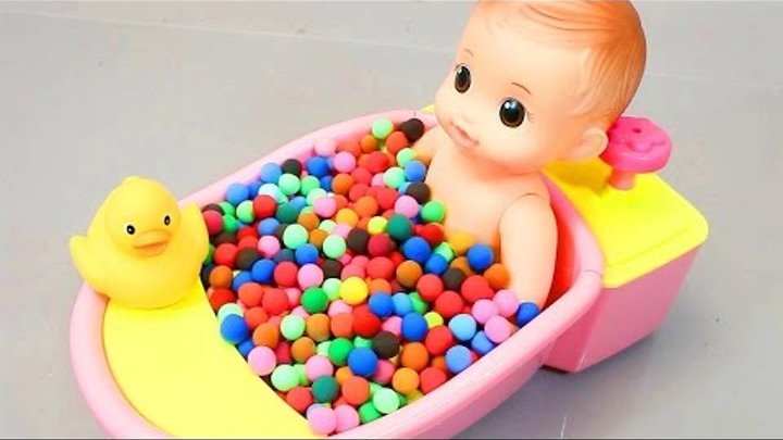TOYS DPH   DIY Learn Colors Play Doh Baby Doll Bath Time Toy Surprise Eggs