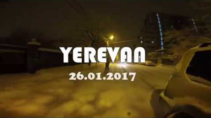 Night Skiing in Yerevan, during the snowfall :)