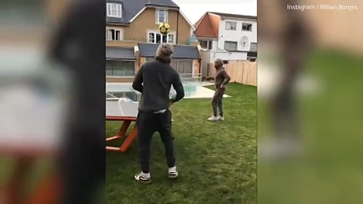 Chelsea duo Willian and David Luiz take on friends in a game of 'Teqball'