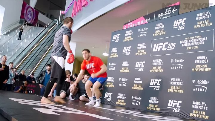 Khabib Nurmagomedov punishes training partners at UFC 209 open workout in Las Ve