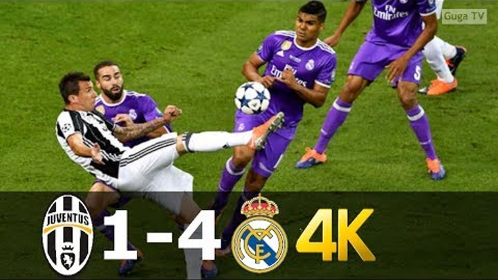 Juventus vs Real Madrid 1-4 - UHD 4k UCL Final 2017 - Full Highlights (English Commentary)