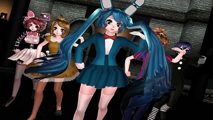 【MMD x FNAF】 Ninja re Bang Bang 【 Miku, Rin, Len, Teto and Kaito 】 DL Links